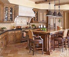 tuscan kitchen decor - Internal Home Design Tuscan Kitchen Design, Tuscan Design, Tuscan Kitchens, Luxury Kitchens, Old World Kitchens, Tiny Kitchens, Dream Kitchens, Tuscan Style Homes, Tuscan House