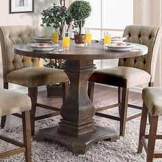Furniture of America Nerissa Antique Oak Round Counter Height Table Decor, Furniture, Counter Height Dining Room Tables, Counter Height Dining Table, Kitchen Table Settings, Elegant Kitchens, Table, Round Counter Height Table, Furniture Of America