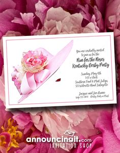 Kentucky Derby Pink Lady's Hat party invitations are a perfect way to get the gang together to watch the Derby or for a Derby themed party or bridal shower. See our entire collection of Kentucky Derby Party Invitations at Announcingit.com