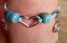 Cute Turquoise Suede Bracelet With Charms by WolfMountainJewelry, $13.00