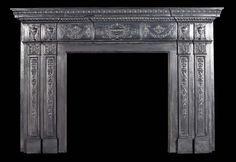 Antique Adam manner Cast Iron Georgian Coalbrookdale Fireplace Mantel