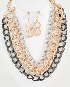 Tri-tone / Lead Compliant / Metal Chain / Multi Row / Necklace & Fish Hook Earring Set