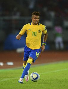 Frederic Bulot of Gabon during the 2015 Africa Cup of Nations football match between Burkina Faso v Gabon at Bata Stadium in Bata, Equatorial Guinea on 17 January 2015 ©Barry Aldworth/BackpagePix