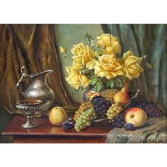 Original Still Life Painting, Oil on Canvas, Fruit, Yellow Roses, and from revival-house-antiques on Ruby Lane Still Life Oil Painting, Yellow Roses, Ruby Lane, Oil Paintings, Be Still, Oil On Canvas, Fruit, The Originals, Antiques