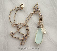 Sea Blue Chalcedony Pendant Mixed Gem Gold Necklace - The Georgia Necklace-necklace, mixed gems, sea blue chalcedony, mother of pearl, iolite, rosary chain, resort, tippy stockton