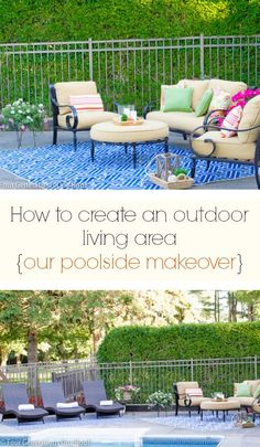 Do you have a an outdoor space that you would like to create a cozy seating area in? I am showing you how we transformed our boring pool area into cozy multiple seating areas {DIY poolside makeover} @Four Generations One Roof