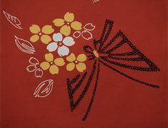 Vintage Japanese Kimono Fabric - Butterfly floral brown cotton yukata fabric Japanese Cotton, Japanese Kimono, Vintage Japanese, Kimono Fabric, Cotton Fabric, Fabric Butterfly, Yukata, Vintage Fabrics, Quilts