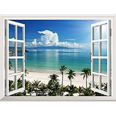 "wall26 White Beach with Blue Sea and Palm Tree Open Window Mural Wall Sticker - 24""x32"""