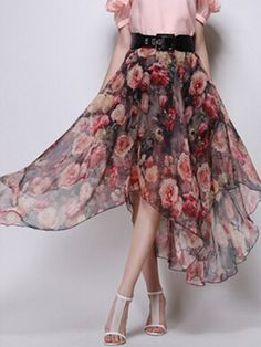 Red Vintage Floral Belt Waist Asymmetric Chiffon Skirt
