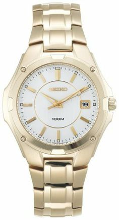 Seiko Men's SGEE62 Gold-Tone Dress Watch Seiko. $89.99. Push button release clasp. Water resistant up to 330 feet (100 M). Men?s dress. (No Suggestions) hands and markers. Gold-tone stainless steel. Save 72% Off!