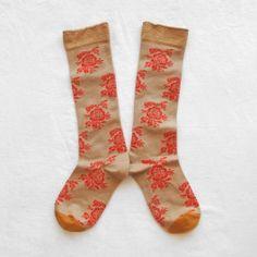 Chaussettes Hautes Bonne Maison / Bonne Maison knee highs - Fleurs Beige