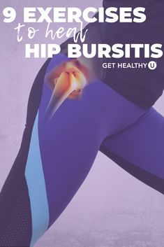 9 Best Exercises For Hip Bursitis Hip bursitis is an irritating condition that can range from slightly bothersome to very painful. Incorporate these 9 exercises into your routine to relieve pain and heal hip. Hip Bursitis Exercises, Bursitis Hip, Arthritis Exercises, Back Exercises, Hip Stretching Exercises, Hip Flexor Pain, Hip Strengthening Exercises, Sciatica Stretches, Fitness Tips