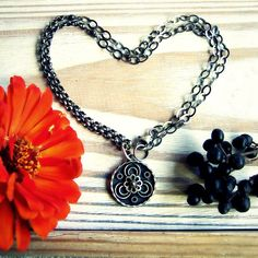 Silver medallion necklace/ metalwork necklace/ by FiliGraceJewelry, $70.00