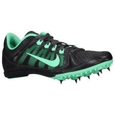 Nike Zoom Rival MD 7 - Women's - Track & Field - Shoes - Dark Charcoal/Green Glow #nikewomenrunningshoes