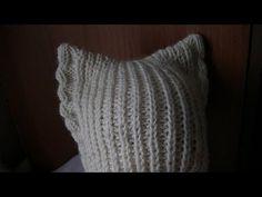 Вязание шапки с ушками на спицах. - YouTube
