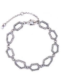 Silver Link Rhinestone Adjustable Bracelet