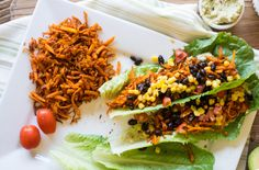 Southwest Sweet Potato Lettuce Wraps by lemonsandbasil #Lettuce_Wraps #Sweet_Potato #Southwest #Healthy
