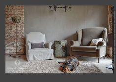Pure Original Kalkverf woonkamer. kleur Earth Stone.