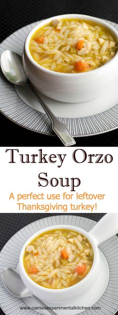This Turkey Orzo Soup is a perfect use for leftover Thanksgiving turkey. Try substituting Sunday's leftover roasted chicken too! Thanksgiving Leftover Recipes, Leftover Turkey Recipes, Leftovers Recipes, Thanksgiving Turkey, Turkey Leftovers, Thanksgiving Desserts, Chicken Leftovers, Christmas Desserts, Crock Pot Recipes