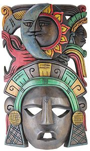 Harkening back to Meso-American times, these Mayan masks invoke the mystery and exuberance of a raw and unadulterated culture. Mayans had a unique, ritualistic and real connection to nature, art and astrological systems. These masks embody all aspects of these connections, from the mix of angular and curved lines to the stark contrast of the color schemes and carved figures. These masks celebrate human history and the mystery of life.