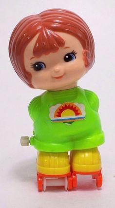 Vintage TOMY Wind Up Toy Roller Skating Girl Works 1979 #TOMY