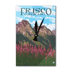 Frisco, Colorado Fireweed & Mountains - LP Artwork (Acrylic Wall Clock), Black