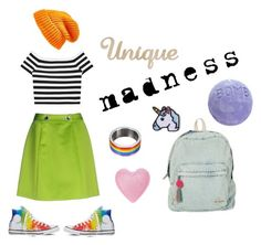"""Unique Madness"" by hint-of-pink ❤ liked on Polyvore featuring Moschino Cheap & Chic, Alice + Olivia, Hipstapatch, Converse, Topshop, Billabong, Hipster, tumblr, Unique and alternative"