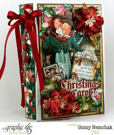 Christmas Carol Mini Album 1 using Graphic 45 A Christmas Carol Collection Christmas Mini Albums, Christmas Journal, Christmas Minis, Christmas Carol, Christmas Crafts, Christmas Scrapbook, December Daily, Graphic 45, Mini Scrapbook Albums