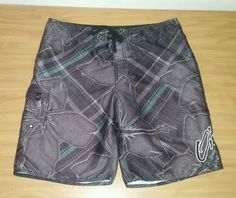 Men's O'Neill Gray Plaid Board Shorts Swim Trunks Size 36 #ONeill #BoardShorts