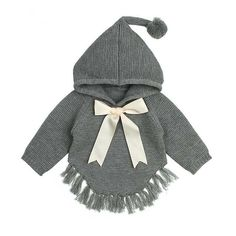 Little Emma Tassel Style Bow Sweater – Baby Baby Girl Cardigans, Girls Sweaters, Baby Sweaters, Little Boy Fashion, Kids Fashion, Winter Fashion, Fashion Usa, Fashion Clothes, Trendy Fashion