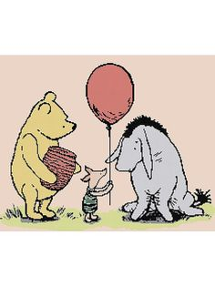 Classic Pooh Eeyore's Birthday Cross Stitch Kit by LCStitchery Winnie The Pooh Classic, 100 Acre Wood, Fall Pictures, Eeyore, Old Toys, Boy Birthday, Disney Characters, Fictional Characters, Balloons
