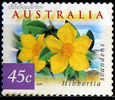 Australia.  FLORA & FAUNA TYPE OF 1996. HIBBERTIA SCANDENS. Scott 1746C A511, Issued 1999 Apr 08, Coil Stamps Serpentine Die Cut 11 1/2, 45c. /ldb.