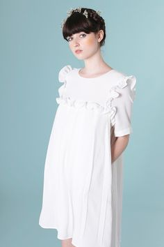 Bib Frill Smock Dress Ivory - THE WHITEPEPPER