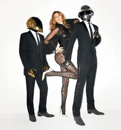 Glamour with Gisele – After taking a look at the cover yesterday, here are some more images from Gisele Bundchen's main editorial for WSJ Magazine. The Brazilian glamazon poses alongside electronic music duo Daft Punk in pictures lensed by Terry Richardson. For the studio shoot, Gisele wears standout looks styled by George Cortina featuring the work of Valentino Haute Couture, Armani Prive and Chanel Haute Couture.