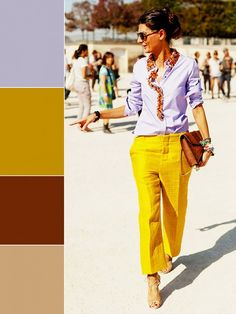 9 Ways to Finally Embrace More Color This Spring via @WhoWhatWear: lavender, yellow, brown, tan