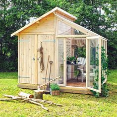 A DIY shed and greenhouse combination.