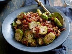 Roasted Brussels Sprouts with a Bacon, Mustard and Walnut Vinaigrette from CookingChannelTV.com