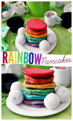 Rainbow St. Patrick's Day Breakfast - Love these rainbow pancakes!