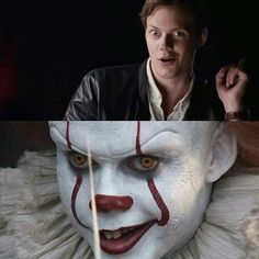 Looks like Bill's dropping some sas Movie Memes, Funny Dog Memes, Chucky, Bill Skarsgard Hemlock Grove, Bill Skarsgard Pennywise, Evil Dead, Le Clown, Pennywise The Dancing Clown, King Book
