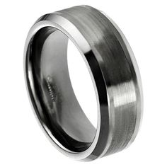 Tungsten Carbide brushed center band with beveled edge