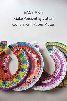 Children will learn about ancient Egypt while making their own decorative collar. Good world thinking day craft. Ancient Egypt Activities, Ancient Egypt Crafts, Egyptian Crafts, Egyptian Art, Ancient Egypt For Kids, Ancient Egypt Lessons, Ancient Art, Ancient History, Paper Plate Crafts