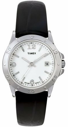 Timex Women's T2M788 Sport Fashion Silver-Tone with Black Leather Strap Watch Timex. $69.99. Case diameter: 29 mm. Water-resistant to 165 feet (50 M). Mineral crystal. Analog-quartz movement. Brass case; White dial; Date function