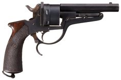 """Russian Galand M1870 boarding revolver  Designed by Charles François Galand c.1868 in Paris, adopted by the Russian Navy c.1870 and manufactured by the Nagant brothers in Liege, Belgium thereafter - ship rack number 727. 11mm Perrin six-round cylinder, double action, break action with automatic disc ejector, saw handle grip and reins trigger guard. I love the era in which you had """"boarding revolvers""""."""