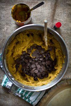 Dark Chocolate Chip Pumpkin Cookies with Cream Cheese Glaze