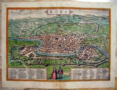 Rare Braun Hogenberg Rome City Map Roma Italy Italia Città Town Original Civitates Orbis Terrarum Mappa Originale by WorldFineArtGallery on Etsy