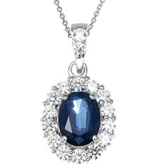 Vir Jewels Silver Created Blue Sapphire Pendant (1.20 CT) With 18 Inch Chain -- Be sure to check out this awesome product.