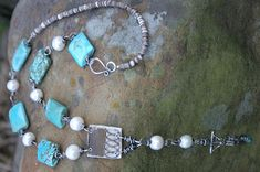 Pompandpower1, Somethingsublime, Necklace-sterling, vintage brass, paper, turquoise, pearl, vintage crucifix, shell heishi