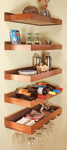 floating shelves.. you know, I bet we could make cool wine wracks like this mom. @Laura Van Dran