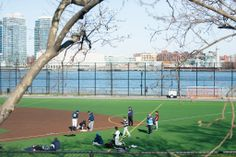 The East River Park has a waterside boardwalk, several baseball and soccer fields, playgrounds, and all sorts of picnic spots.  Brooklyn, NYC