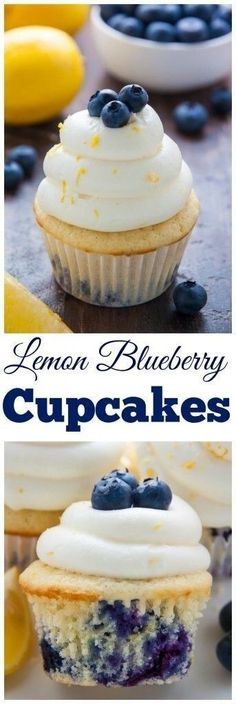 Lemon Blueberry Cupcakes - My favorite Lemon Blueberry Cupcakes! Topped with homemade Lemon Cream Cheese Frosting and Fresh Blueberries, they're simply irresistible.